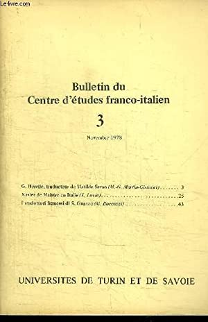BULLETIN DU CENTRE D'ETUDES FRANCO-ITALIEN - 3 NOVEMBRE 1978: COLLECTIF