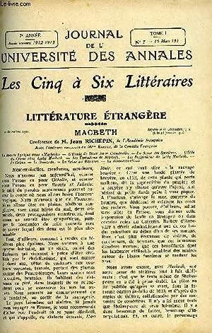 JOURNAL DE L'UNIVERSITE DES ANNALES 7e ANNEE: COLLECTIF