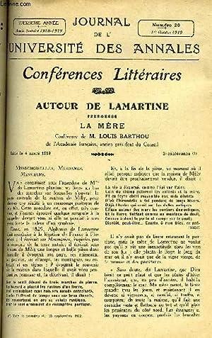 JOURNAL DE L'UNIVERSITE DES ANNALES 13e ANNEE SCOLAIRE N°20 - Sommaire : Autour de ...