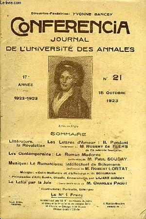 CONFERENCIA 17e ANNEE N°21 - Littérature.   Les Lettres d Amour ! II. Pendant la ...