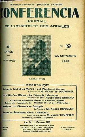 CONFERENCIA 23e ANNEE N°19 - Autour du Moi et du Monde : Les Peuples et GenèveConférence de M. ...
