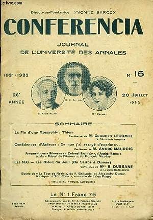 CONFERENCIA 26e ANNEE N°15 - La Fin d'une Monarchie : Thiers Conférence de M. GEORGES ...