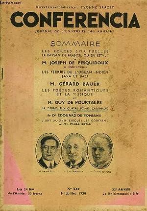 CONFERENCIA 32e ANNEE N°14 - LES FORCES SPIRITUELLES LE PAYSAN DE FRANCE, OU EN EST-IL ? par M....