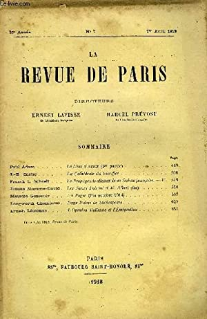 REVUE DE PARIS 25e ANNEE N°7 - Paul Adam »J.-B. Carter .Franck L. Schoell . * . Jeanne ...