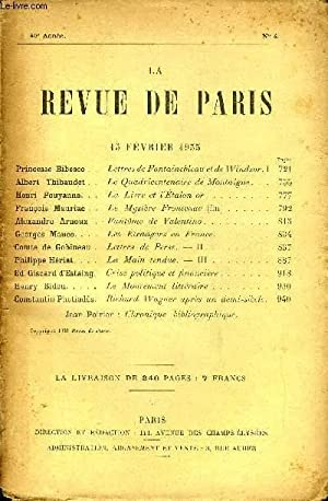 REVUE DE PARIS 40e ANNEE N°4 -: COLLECTIF