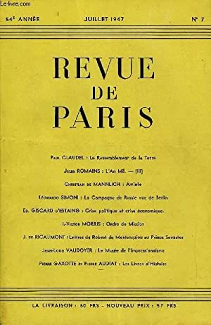 REVUE DE PARIS 54r ANNEE N°7 -: COLLECTIF