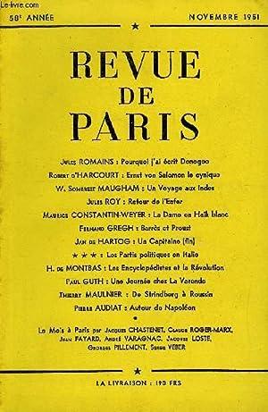 REVUE DE PARIS 58e ANNEE - Jules ROMAINS : Pourquoi ¡'ai écrit Donogoo Robert d&#...