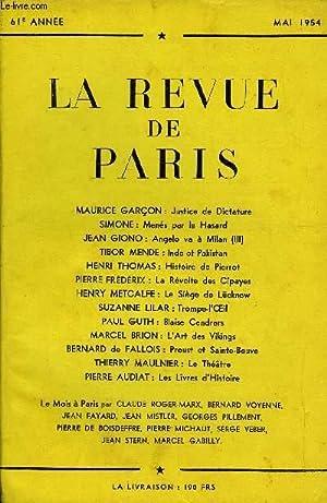 REVUE DE PARIS 61e ANNEE N°5 - MAURICE GARÇON : Justice de Dictature SIMONE : Men&eacute...