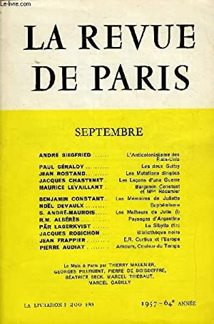 REVUE DE PARIS 64e ANNEE N°9 - ANDRÉ SIEGFRIED.L'Anticolonialisme des É...