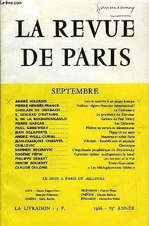 REVUE DE PARIS 73e ANNEE N°9 - ANDRÉ MAUROIS Lettre ouverteà un jeune homme ...