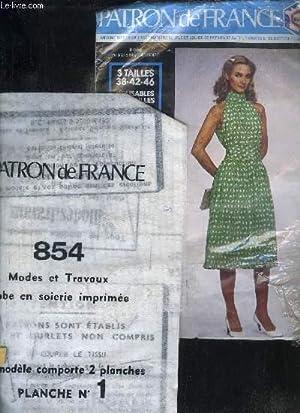 PATRON DE FRANCE N°854 - IMPRIME SUR NON TISSE MATIERE SOUPLE ET SOLIDE - ROBE EN SOIERIE ...