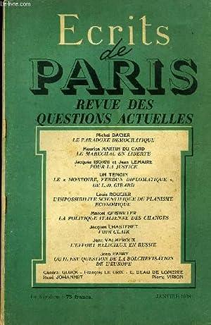 ECRITS DE PARIS - REVUE DES QUESTIONS ACTUELLES - Michel DACIER-Le paradoxe dé...