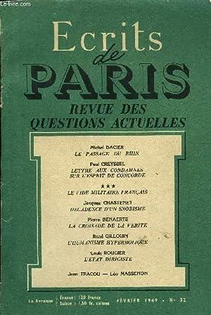 ECRITS DE PARIS - REVUE DES QUESTIONS: COLLECTIF