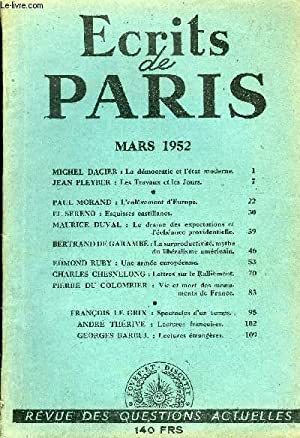 ECRITS DE PARIS - REVUE DES QUESTIONS ACTUELLES N°89 - MICHEL DACIER : La démocratie et ...