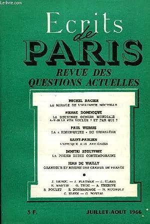 ECRITS DE PARIS - REVUE DES QUESTIONS ACTUELLES N°250 - Michel DACIER•Le mirage de l'...