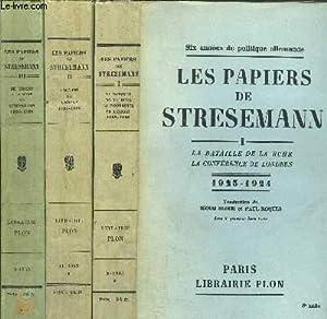LES PAPIERS DE STRESEMANN - 3 VOLUMES: BERNHARD HENRY