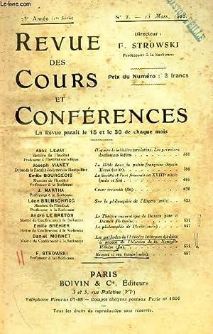 REVUE DES COURS DE CONFERENCES - N°7 - 15 mars 1922 / Histoire de la litterature latine - ...