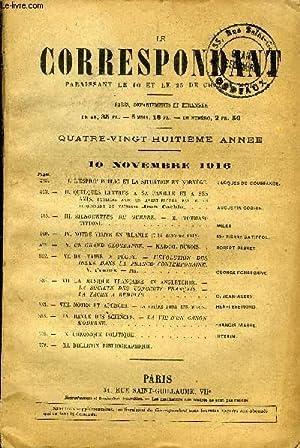 LE CORRESPONDANT TOME 229 N° 1299 - I. L'ESPRIT PUBLIC ET LA SITUATION EN NORVÈGE. ...