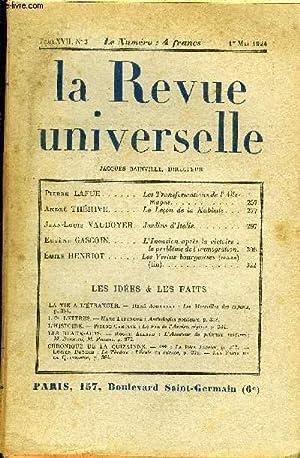 LA REVUE UNIVERSELLE TOME 17 N°3 - Pierre LAFUE. Les Transformations de l'AllemagneAndr&...