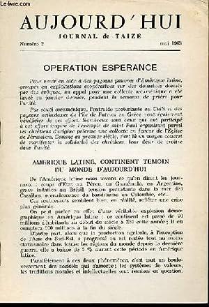 AUJOURD'HUI : JOURNAL DE TAIZE N°2 / MAI 1963.: COLLECTIF