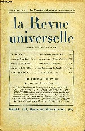 LA REVUE UNIVERSELLE TOME 39 N°17 - M. de ROUX. La Restauration des Bourbons.!.Camille MAUCLAIR. La...