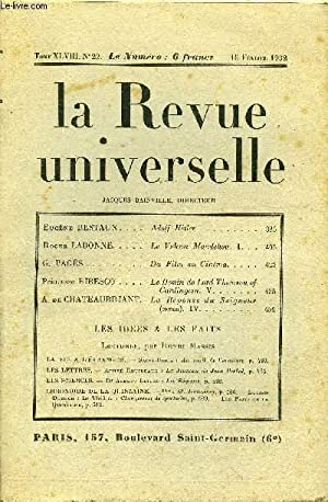 LA REVUE UNIVERSELLE TOME 48 N°22 - Eugène BESTAUX. Adolf Hitler. Roger LABONNE. Le Volcan Mandchou...