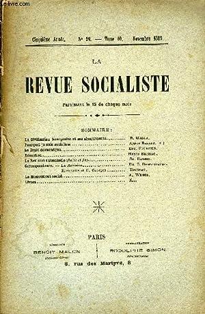 LA REVUE SOCIALISTE TOME 10 N° 59 - La Civilisation bourgeoise et ses aboutissants. B. ...