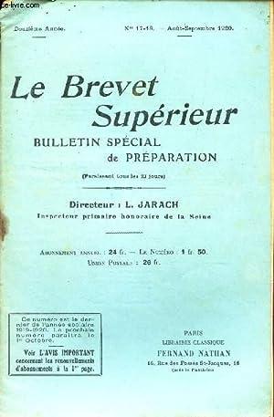 LE BREVET SUPERIEUR - N°17-18 - Aout-sept 1920 / Ceci par dessus tout : envers toi meme ...