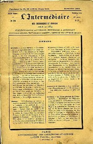 L'INTERMEDIAIRE DES CHERCHEURS ET CURIEUX N° 598 - questions. — Le plus éminent. — ...