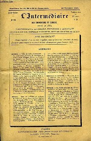 L'INTERMEDIAIRE DES CHERCHEURS ET CURIEUX N° 599: COLLECTIF