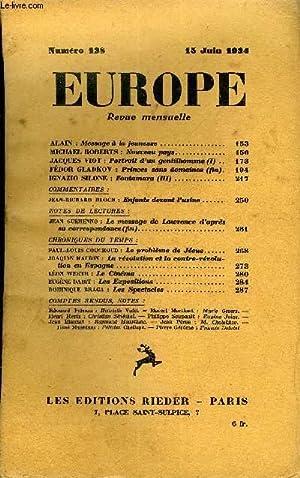 EUROPE REVUE MENSUELLE N° 138 - ALAIN : Message à la jeunesse. MICHAEL ROBERTS : Nouveau...