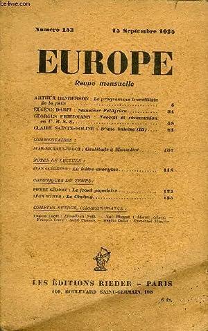 EUROPE REVUE MENSUELLE N° 153 - ARTHUR HENDERSON : Le programme travailliste de la paix. EUG&...
