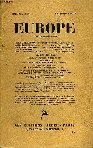 EUROPE REVUE MENSUELLE N° 111 - JEAN GUÉHENNO. Les Intellectuels et le Dé...