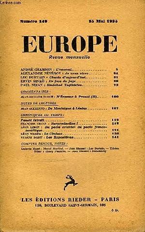 EUROPE REVUE MENSUELLE N° 149 - ANDRÉ CHAMSON : L'ennemi.ALEXANDRE NÉYÉROV...