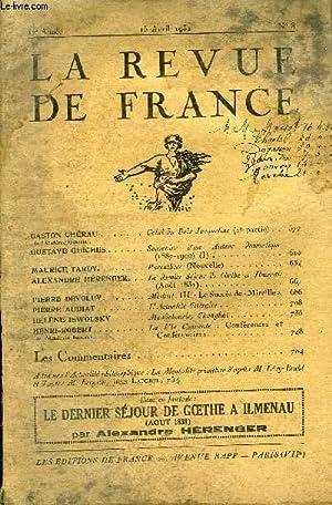 LA REVUE DE FRANCE 12e ANNEE N°8 - GASTON CHÉRAU de l'Académie Goncourt. Celui du...