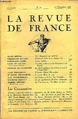 LA REVUE DE FRANCE 17e ANNEE N°21 - ALAIN SERDAC. Port-Macquarie (4e partie) .FERDINAND DUVIARD...