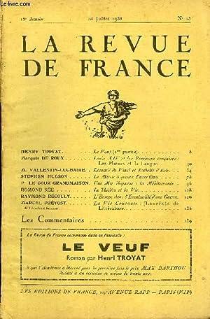LA REVUE DE FRANCE 18e ANNEE N°13: COLLECTIF