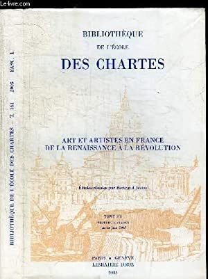 BIBLIOTHEQUE DE L'ECOLE DES CHARTES - TOME: JESTAZ BERTRAND