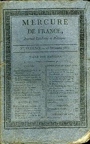 MERCURE DE FRANCE N°CCCCXCI - Chant d'allégresse par M. P. A. Vieillard, Vers qui ...