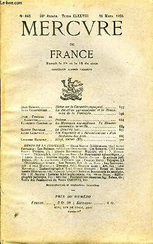 MERCURE DE FRANCE N° 642 - TOME CLXXVIII - Jean Baelen. Notes sur le Caractère ...