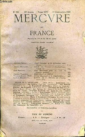 MERCURE DE FRANCE N° 726 - TOME: COLLECTIF