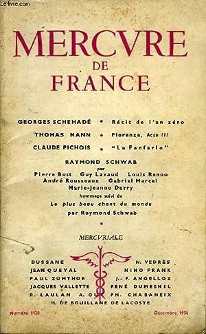 MERCURE DE FRANCE N° 1120 - georges schehadé. Récit de Van zérothomas mann...