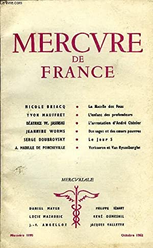 MERCURE DE FRANCE N° 1190 - NICOLE BRIACQ. La Nacelle des Fous. YVON MAUFFRET. L'enfant des ...
