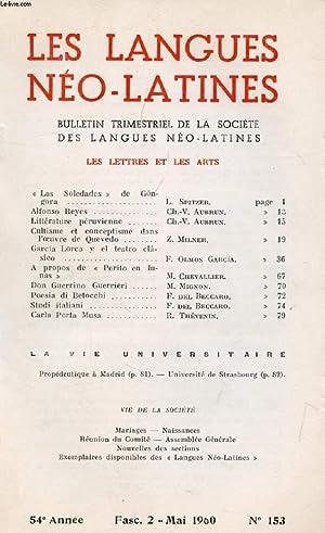 LES LANGUES NEO-LATINES, 54e ANNEE, N° 153, 1960 (Sommaire: LES LETTRES ET LES ARTS. « ...