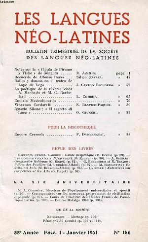 LES LANGUES NEO-LATINES, 55e ANNEE, N° 156, 1961 (Sommaire: Notes sur la « Fabula de ...