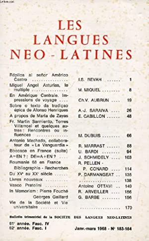 LES LANGUES NEO-LATINES, 62e ANNEE, N° 183-184,: COLLECTIF