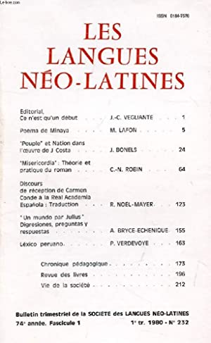 LES LANGUES NEO-LATINES, 74e ANNEE, N° 232,: COLLECTIF