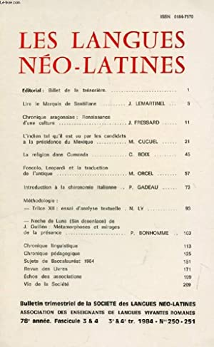 LES LANGUES NEO-LATINES, 78e ANNEE, N° 250-251,: COLLECTIF