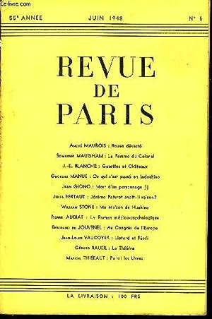 REVUE DE PARIS 55e ANNEE N°6 -: COLLECTIF