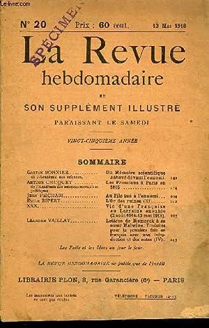 LA REVUE HEBDOMADAIRE ET SON SUPPLEMENT ILLUSTRE L'INSTANTANE TOME V N°20 - Gaston BONNIER...